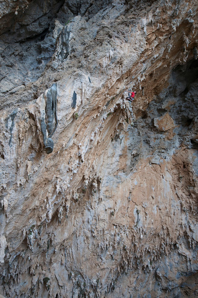Me on Morgan 7b+(26) at Sikati Cave, Kalymnos. Photo by Matt Mueller